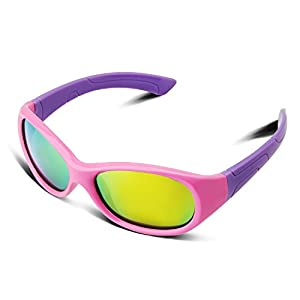 RIVBOS RBK003 Rubber Flexible Kids Polarized Sunglasses Age 3-10 (Round Pink Coating Lens)