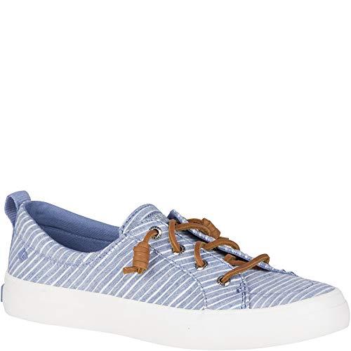 (SPERRY Women's Crest Vibe Chambray Stripe Sneaker, Blue/White, 055 M US)