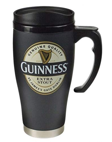 Guinness Label Stainless Steel Travel Mug Large with Lid and Handle ()