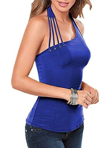 Bandage Chemisier Royal Svelte Couleur Dos Fashion Haut Bleu Pin Sexy Tops Vest Blouses Femme T Up Shirt Dbardeurs Et Unie Nu 0q1RwXx7w