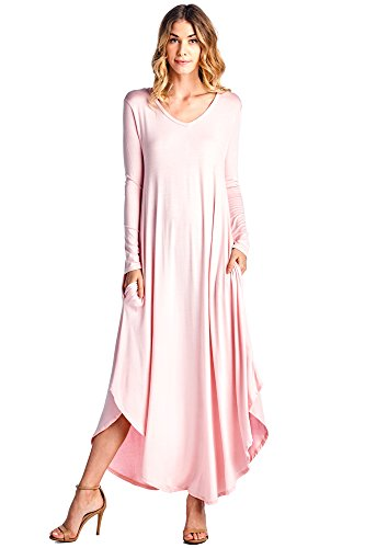 f971172ee425 12 Ami Curved Hem V-Neck Long Sleeve Maxi Dress (S-XXL) – Made In USA