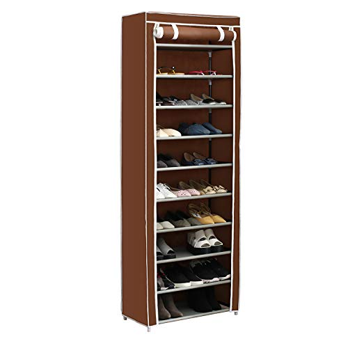 (Home-Like 10-Tier Shoe Rack with Dustproof Cover 30 Pair Shoe Organizer Shoe Rack Tower Zippered Storage Shoe Cabinet in Black Ideal for Hallway Corridor L24.02''xW12.2''xH67.72'')