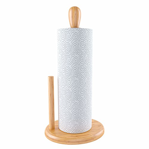 Home Intuition Counter Top Bamboo Paper Towel Holder -
