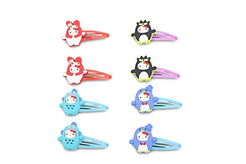 Finex - Set of 8 - Hello Kitty in Costume - My Melody Keroppi Purin Badtz-maru Tuxedo Sam Hangyodon - Snap Clip Hair Clips Hair Accessories Set ()