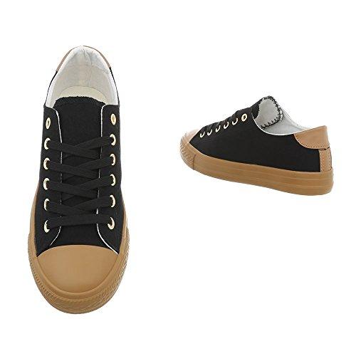 Ital-Design Sneakers Low Damenschuhe Schnürsenkel Freizeitschuhe Schwarz 1410