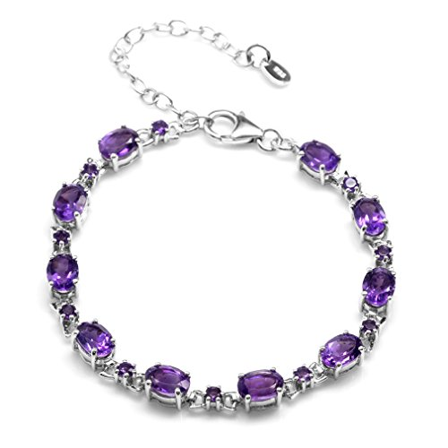 7.8ct. Natural African Amethyst White Gold Plated 925 Sterling Silver 6.5-8.5