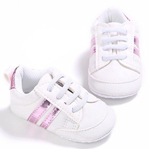 nicholco recién nacido bebé Niños Niñas Suave único bebé prewalker infantil Zapatillas zapatos White + Silver Edge Talla:6-12M White + Pink Edge
