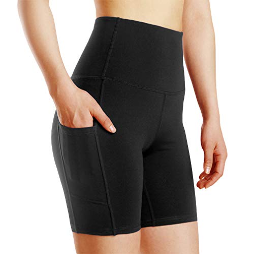 (Tesuwel Women's High Waist Workout Running Yoga Shorts Tummy Control with Side Pockets)