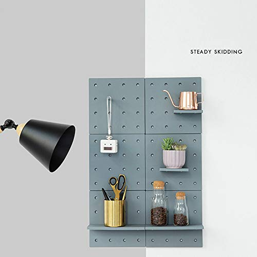 Wall Plastic Decorative DIY Convenient Pegboard Wall Mount Display Wall Organization Storage Wall Shelf for Living Room Kitchen Bathroom Office ,Set of 2 (Grey) ()