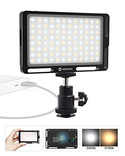Moman LED Video Light, 4.5 Inch On-Camera Lighting for Portrait Photography YouTube Filming, Brightness Dimmable, with OLED Display, Aluminum (Black)