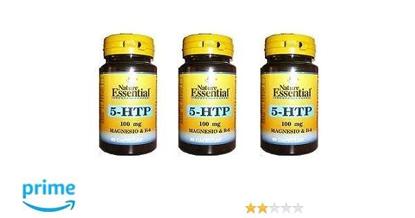 Triptofano 5-Htp + Magnesio + Vitamina B6 100 mg 60 cápsulas (Pack ...