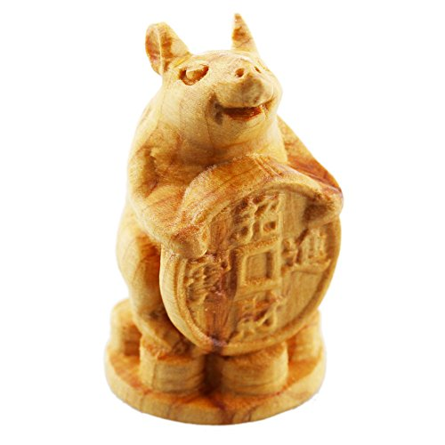 FOY-MALL Mini Hand Pieces Thuja Sutchuenensis Wood Carved Chinese Zodiac Statue Rat S1017