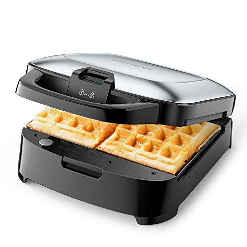 ELECHOMES Belgian Waffle Maker with Removable Plates, Non-Stick, 2-Slices, Cord-Storage, Easy to Use and Clean, Premium Stainless Steel (Waffle Iron Power Cord)