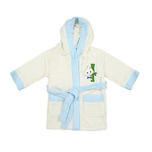 100% Bamboo Kid's Bathrobe, Ultra Soft, High Absorbency (3-5Y, White-Blue)