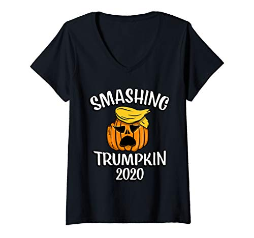 Womens Anti President Trump Halloween Smashing Trumpkin Funny Gift V-Neck T-Shirt