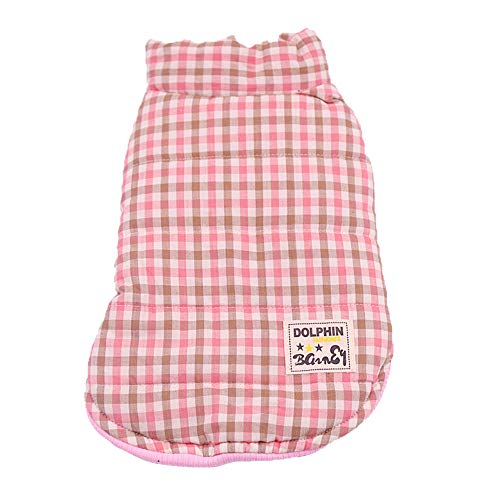 Pet Check Clothes ForPet Dog Warm Winter Cotton Clothes Fashion Plaid Vest Two-Legged Thick Coat Pet Check Vest Cold Weather Sweatshirt Dog Jacket Small Dog Cat Puppy Sweater Dog Outfits (M, Pink) For Sale