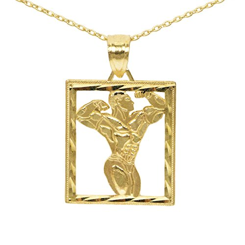 Player Charm 14kt Gold Jewelry (14k Yellow Gold Square Bodybuilder Pendant (16