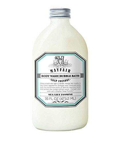 Mayfair Soap Foundry | Bubble Bath + Body Wash in Sea Lily Jasmine 16 oz | Gentle Cleanser to Soften & Renew Skin | Paraben-Free, Cruelty-Free