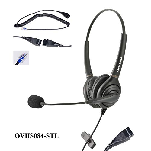 OvisLink binaural ShoreTel Headset   Noise Canceling   Compatible with ShoreTel IP Phones   Over-The-Head Style, Hand Free, No More Cradle The Phone at The Neck   Complete Set, no Additional Purchase