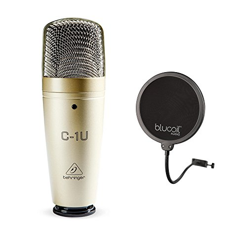 Behringer C-1U USB Condenser Microphone with Cardioid Polar Pattern Bundle with Blucoil Pop Filter Windscreen by blucoil