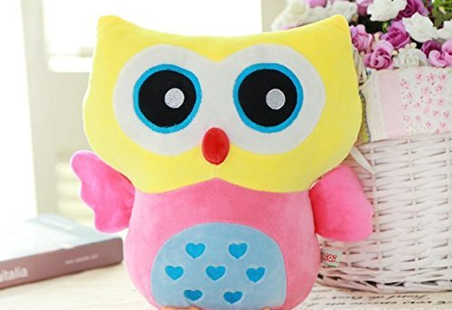 Rainbow Fox Owl Stuffed Toy Plush Doll Lovely Owl Shaped Perfect Decorative Pillow (Yellow) ()