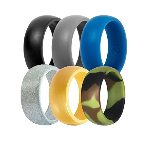 Silicone Wedding Ring For Men By DoerDo, Durable Rubber Sport Band For Active Style - 6 Rings Pack