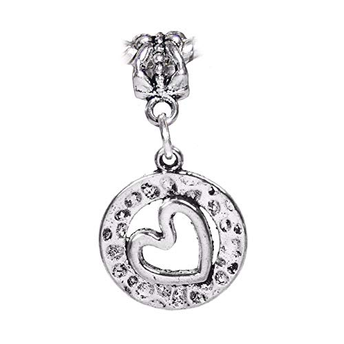 Sideways Heart Circle Hammered Metal Dangle Charm for European Bead Bracelets Crafting Key Chain Bracelet Necklace Jewelry Accessories Pendants ()