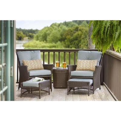 5-Piece Woven Patio Chat Set, Weather-Resistant Resin Wicker
