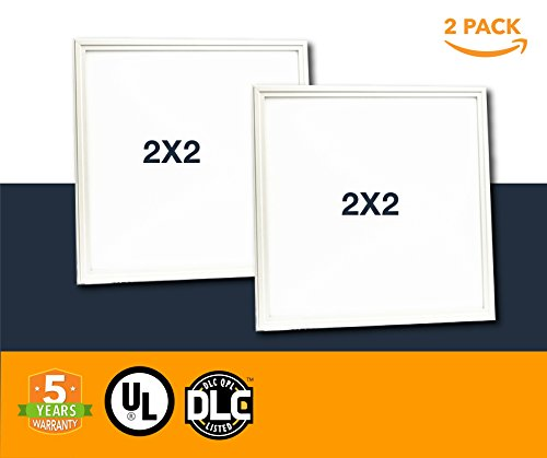 2x2 LED Light Panel - 40w Dimmable Drop Ceiling LED Flat Panel Lighting 5000k - 2 Pack (UL + DLC)