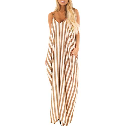 Todaies Women's Striped Long Dress,Summer Holiday Strappy Boho Beach Maxi Sundress (XL, Yellow)
