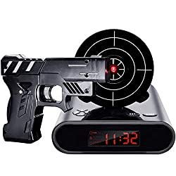IREVOOR Lock N' Load Gun Alarm Clock Target Alarm Clock Creative Gun Shooting Gaming Alarm Clock