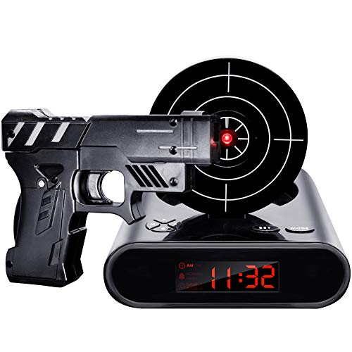 IreVoor Lock N' Load Gun Alarm Clock Target Alarm Clock Creative Gun Shooting Gaming Alarm ()