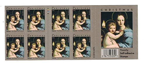 Christmas Madonna of the Candelabra by Raphael Book of 20 USPS Forever Postage Stamps Christmas United States Raphael 679544 Holiday Celebrations ()