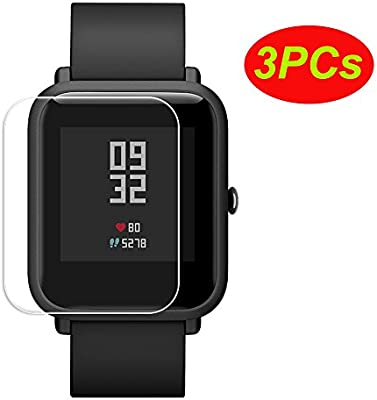 Logobeing 3PCs Pantalla Transparente Protectora Impermeable para Xiaomi Huami Protector Amazfit Bip Youth Watch