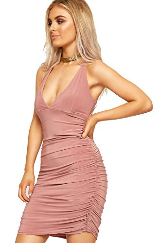 Stretch WearAll Pink Slinky Mini Sleeveless Dress Bodycon Womens Ruched Strappy 408WnrzUa8
