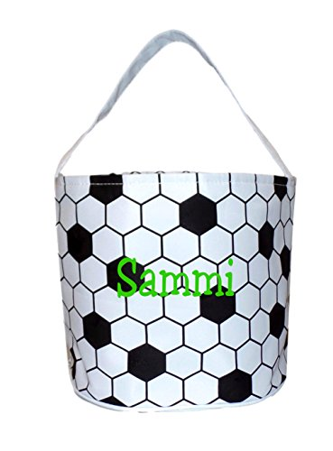 Personalized Halloween Bag Trick or Treat Tote Bag - Storage Bucket Basket (Personalized Soccer)