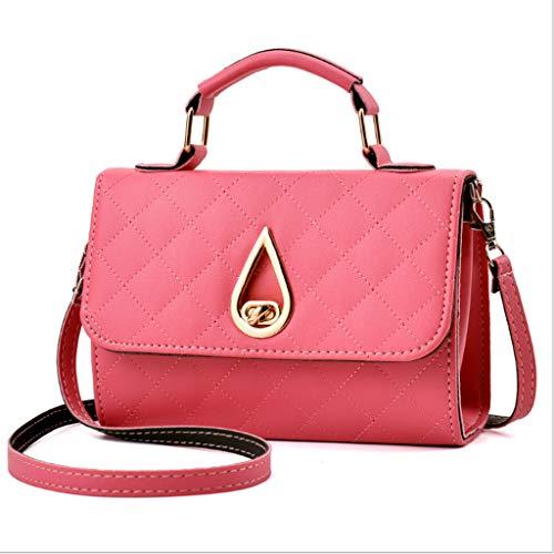 Dames Sac Mode Épaule Bandoulière Lingge Sac à Main PU Petit Carré Sac 6 Couleurs (20 * 14 * 8 cm) (Couleur : Light Pink)