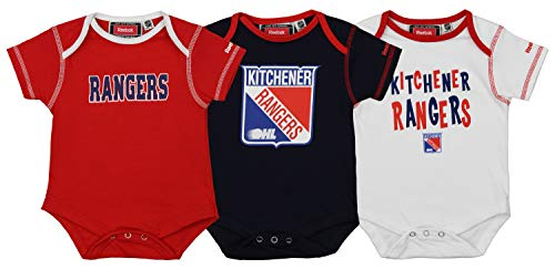OuterStuff NHL Newborn 0M-9M New York Rangers 3 Piece Creeper Set, Red 6-9 Months