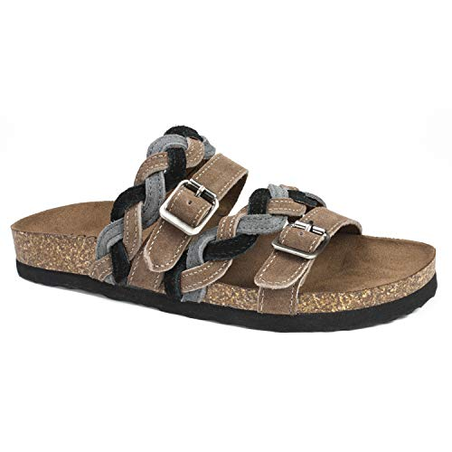 WHITE MOUNTAIN Shoes Holland Women's Sandal, Taupe/Black/Multi/Suede, 8 M Black Multi Suede Footwear