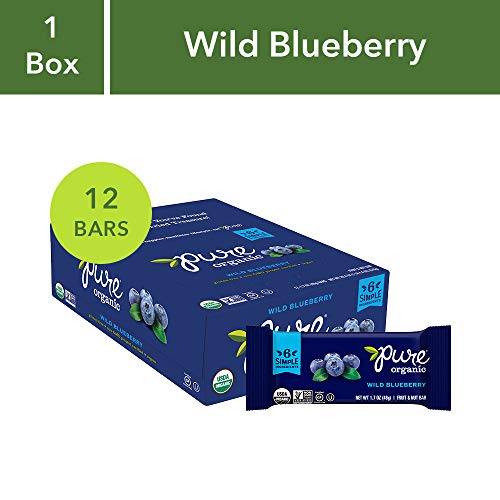 (Pure Organic Wild Blueberry Bar, Gluten-Free, Certified Organic, Non-GMO, Vegan,  Kosher, Plant Based Whole Food Nutrition Bar, 1.7 ounce (Pack of)