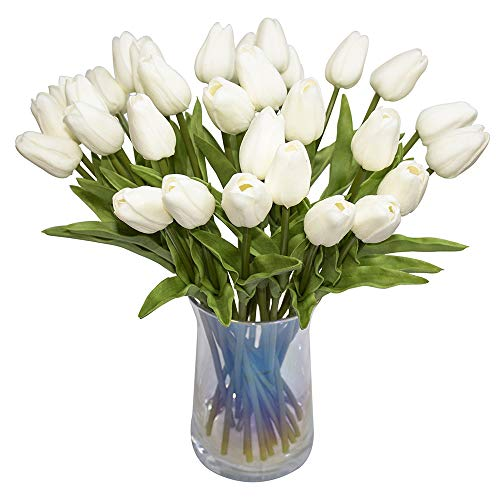 JOEJISN 30pcs Artificial Flowers Real Touch Tulips Holland PU Tulip Bouquet Latex Flower White Tulip for Party Office Home Kitchen Decoration (Pure White)