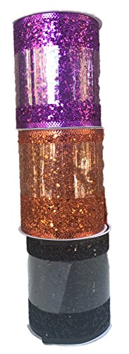 (Purple Orange and Black Glitter Bundle of Three Halloween Themed Wide Wired Ribbons)