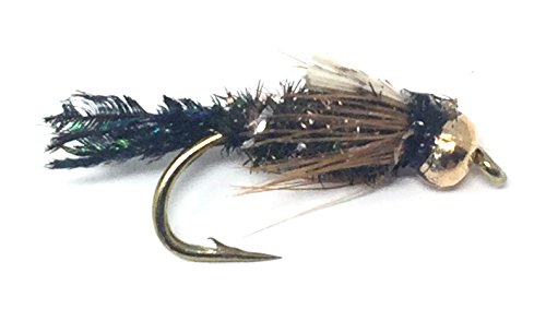 Feeder Creek Fly Fishing Trout Flies - Bead Head ZUG Bug Nymph - One Dozen Flies - 4 Size Assortment 12,14,16,18 (3 of Each Size)