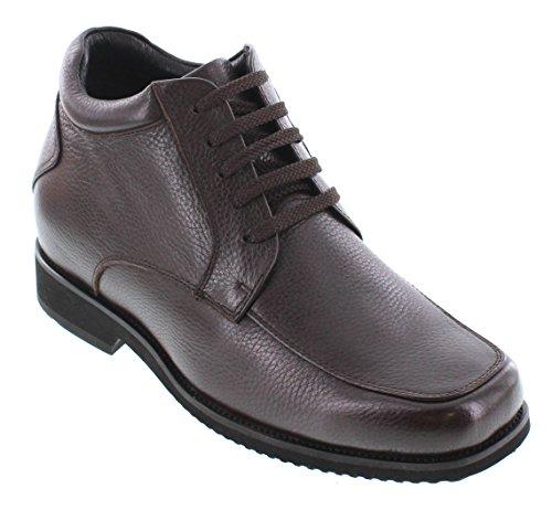 Toto V19307-3.6 Inches Taller - Height Increasing Elevator Shoes - Bruine Leren Veterschoenen
