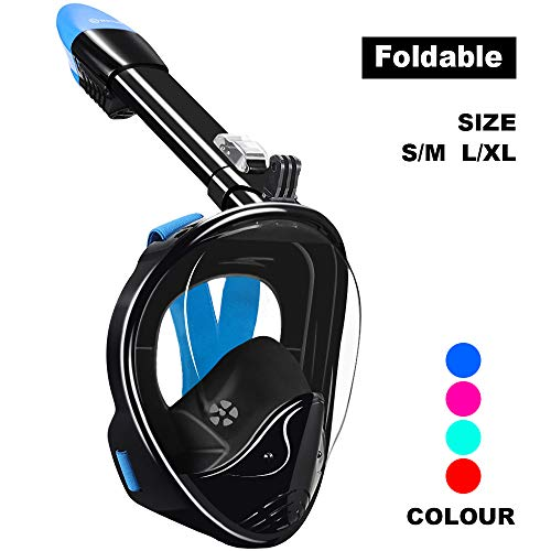 WSTOO Full Face Snorkel Mask,Foldable 180°Panoramic View Snorkel Mask,Anti-Fog Anti-Leak Design with Detachable Camera Mount for Adults & Kids