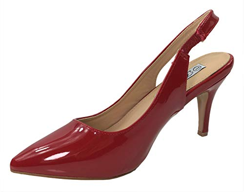 Forever Collection Womens Sling Back Pumps Mid to Low Heel Slip On Shoes, RedPat, - Heels Kitten Red Glitter