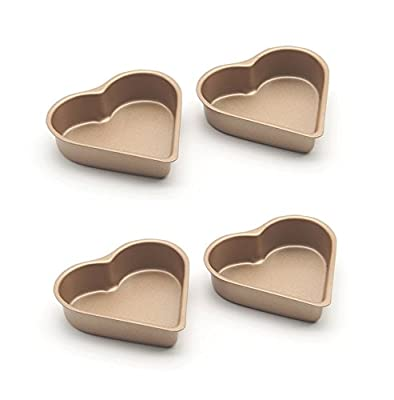 Astra Gourmet Set of 4 Nonstick Mini Pie Pans 3.5 inch Tarts,Tartlets,Cupcakes,Pies,Cheesecakes,Bread,Jelly,Pudding Mold Heart Shaped