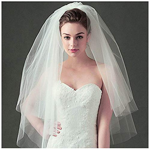 - CanB Bridal Wedding Veils Chapel Length 3 Tier Tulle Veil with Comb Bridal Hair Accessories for Women (White)