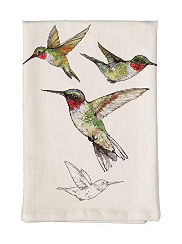 Studio M Field Guide Ruby-Throated Hummingbird Soft, Absorbent Flour Sack Tea Towel, 100% Cotton, Artistic Nature Sketch, 26 x 26 ()