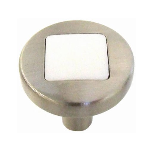 - Belwith Products P3440-SNWM Cabinet Knob, 1-Inch, Satin White Nickel